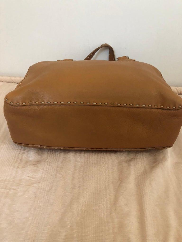 Fendi Tan Grain Leather Selleria Wide Top Stitch Handbag In Good Condition For Sale In Port Hope, ON