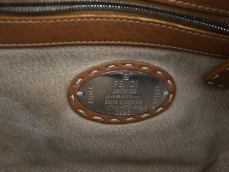 Women's Fendi Tan Grain Leather Selleria Wide Top Stitch Handbag For Sale