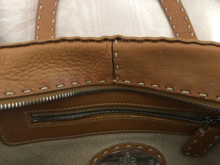 Fendi Tan Grain Leather Selleria Wide Top Stitch Handbag For Sale 1