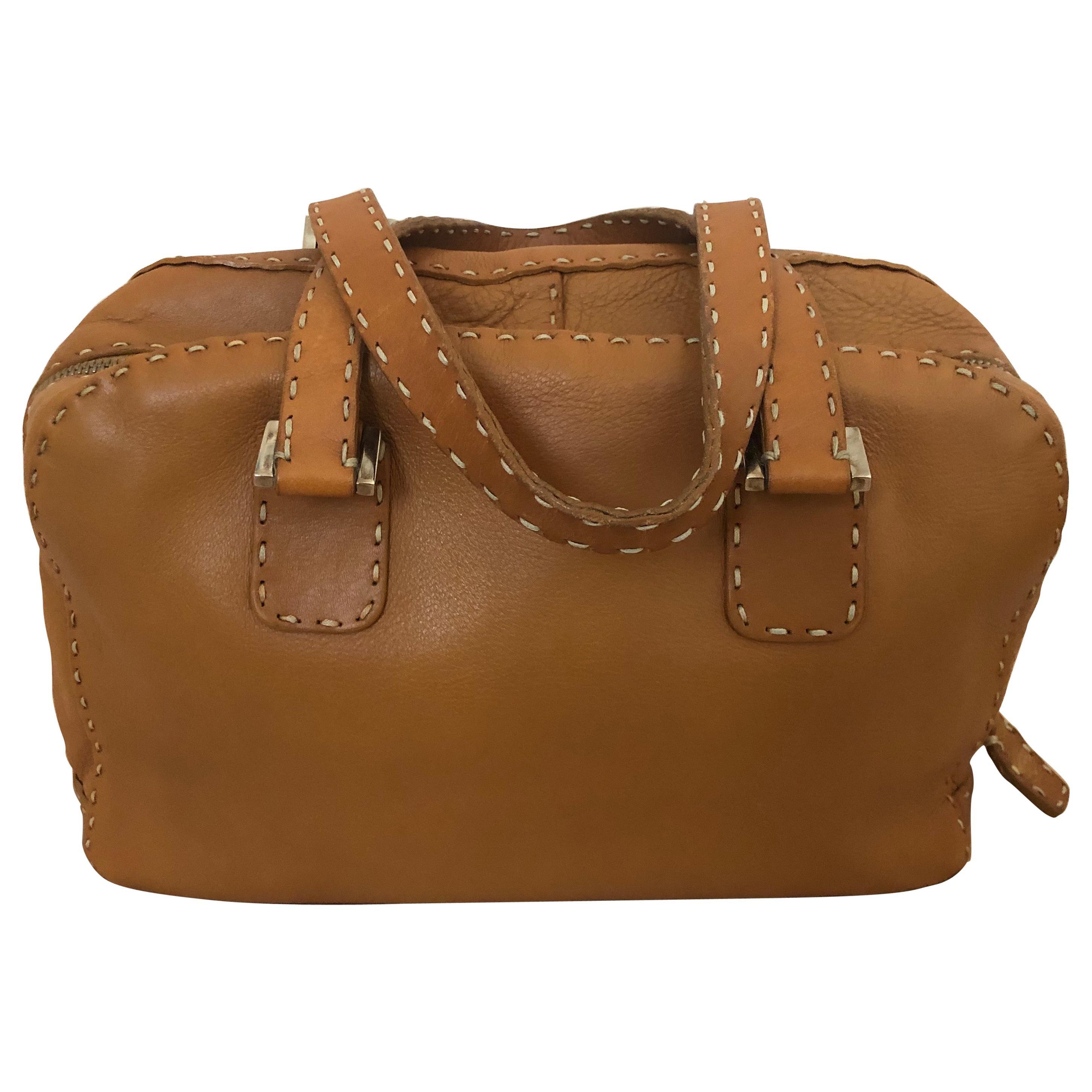 Fendi Tan Grain Leather Selleria Wide Top Stitch Handbag