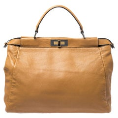 Fendi Tan Leather Large Peekaboo Top Handle Bag