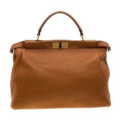 Fendi Tan Leather Large Peekaboo Tote