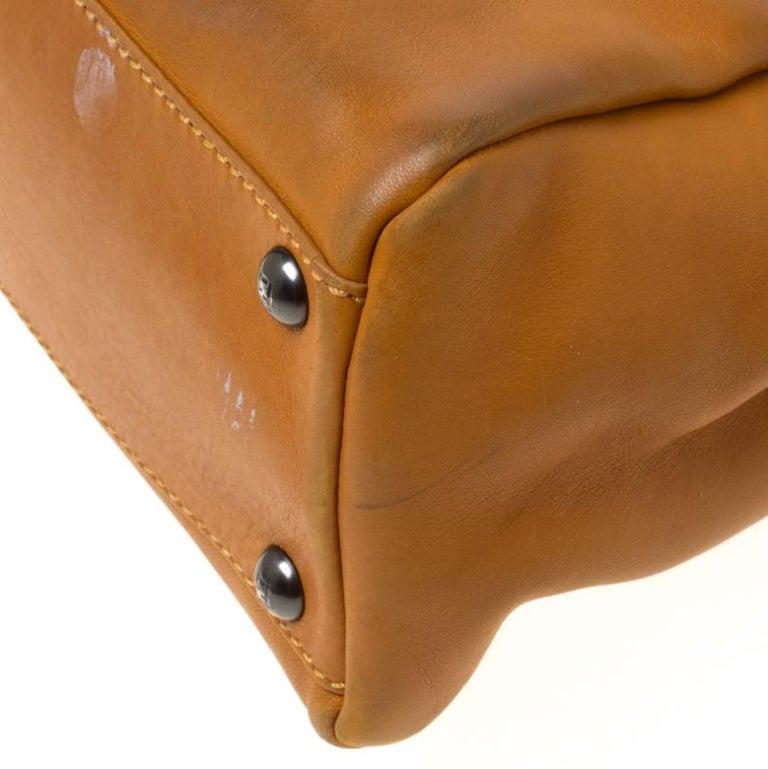 Fendi Tan Leather Medium Peekaboo Top Handle Bag For Sale 5