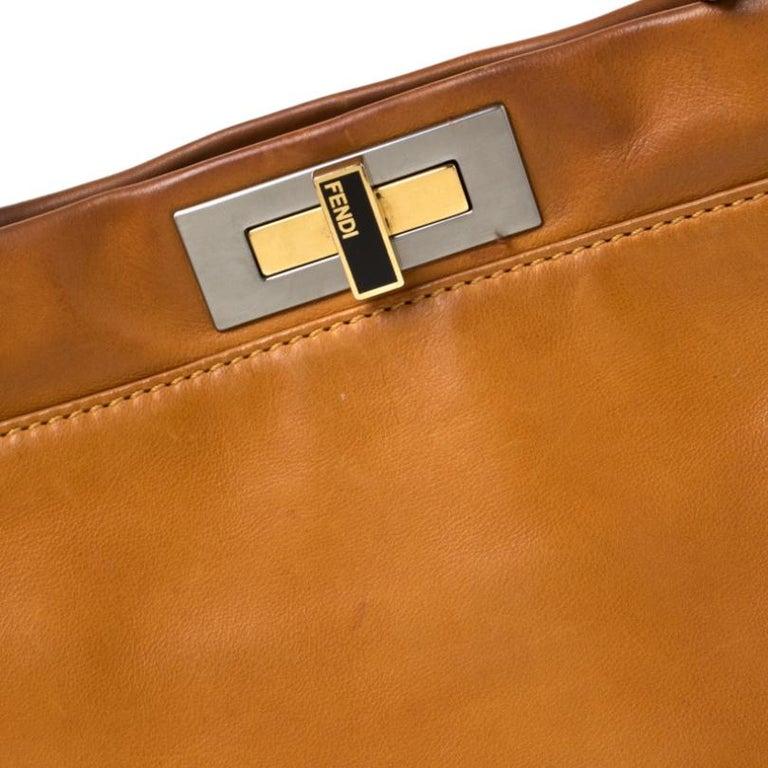 Fendi Tan Leather Medium Peekaboo Top Handle Bag For Sale 6