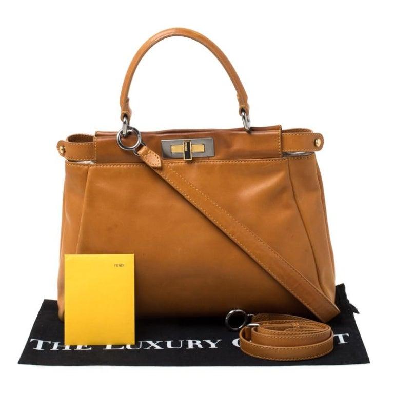 Fendi Tan Leather Medium Peekaboo Top Handle Bag For Sale 7