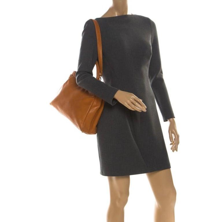 Brown Fendi Tan Leather Medium Peekaboo Top Handle Bag For Sale