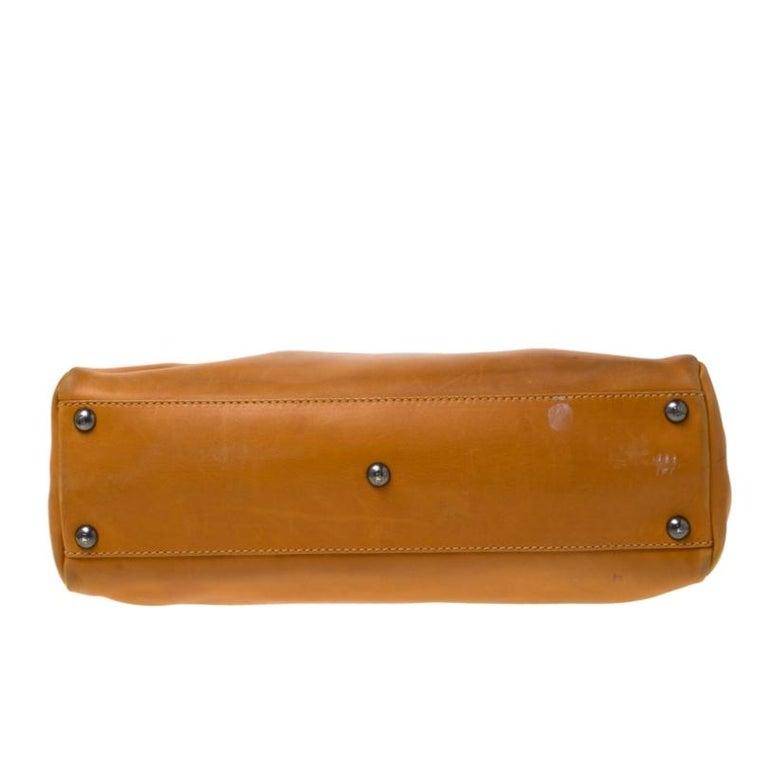 Women's Fendi Tan Leather Medium Peekaboo Top Handle Bag For Sale