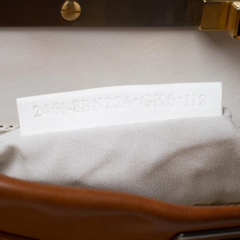 Fendi Tan Leather Medium Peekaboo Top Handle Bag For Sale 1