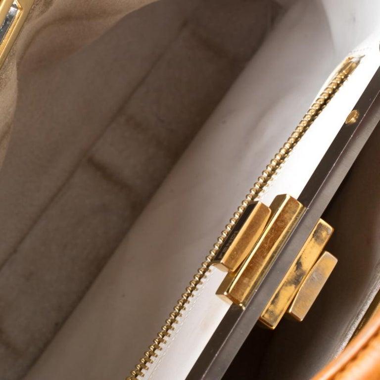 Fendi Tan Leather Medium Peekaboo Top Handle Bag For Sale 3