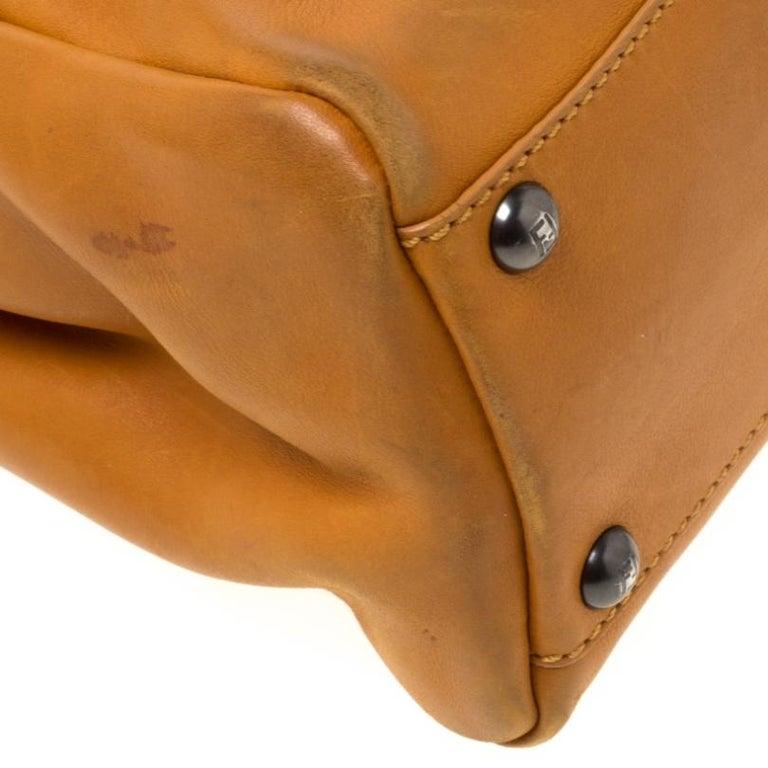 Fendi Tan Leather Medium Peekaboo Top Handle Bag For Sale 4