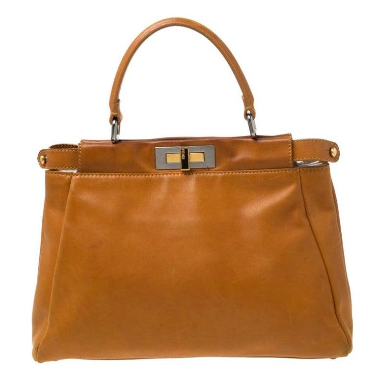 Fendi Tan Leather Medium Peekaboo Top Handle Bag For Sale