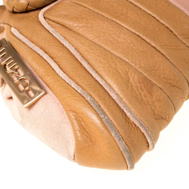 Fendi Tan/Lilac Leather Braided Handle Shoulder Bag For Sale 5