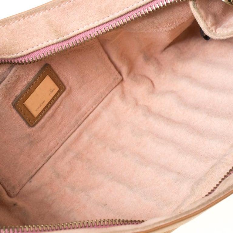 Fendi Tan/Lilac Leather Braided Handle Shoulder Bag For Sale 6