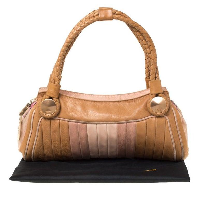 Fendi Tan/Lilac Leather Braided Handle Shoulder Bag For Sale 7
