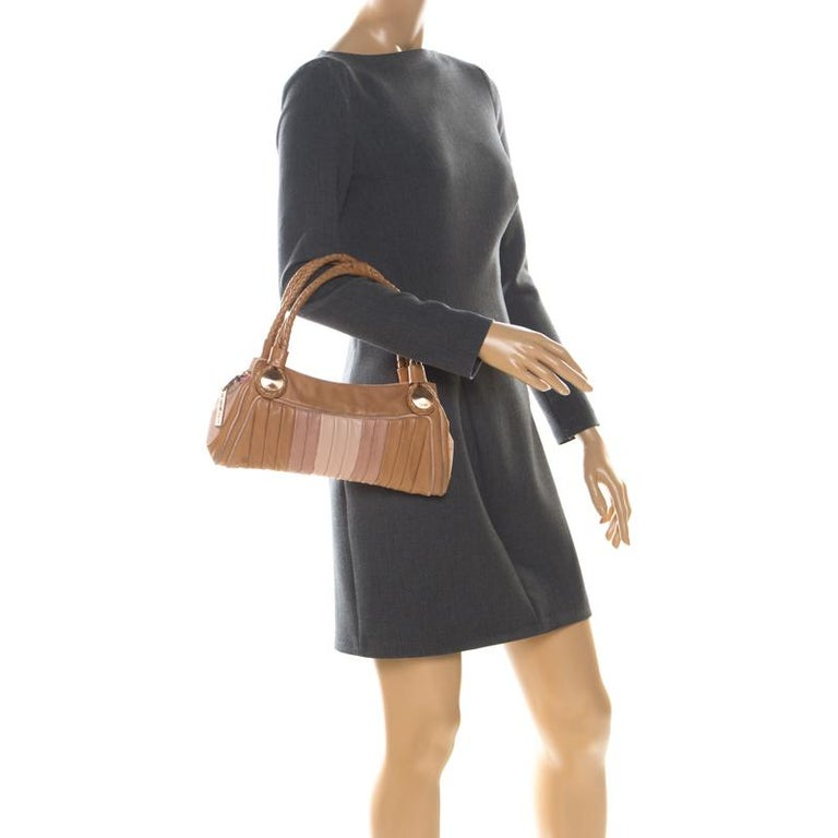 Brown Fendi Tan/Lilac Leather Braided Handle Shoulder Bag For Sale