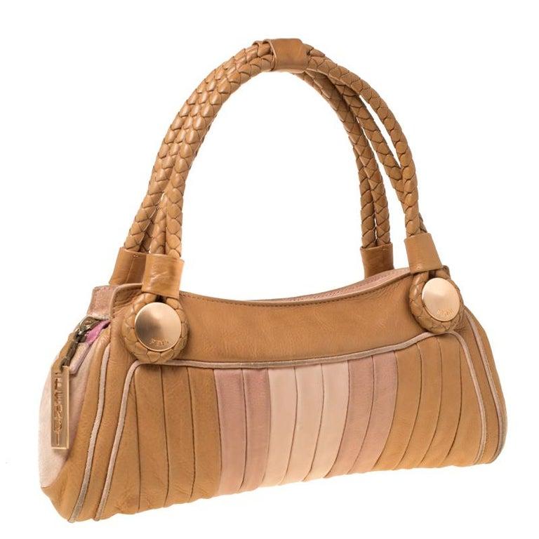 Fendi Tan/Lilac Leather Braided Handle Shoulder Bag In Good Condition For Sale In Dubai, Al Qouz 2