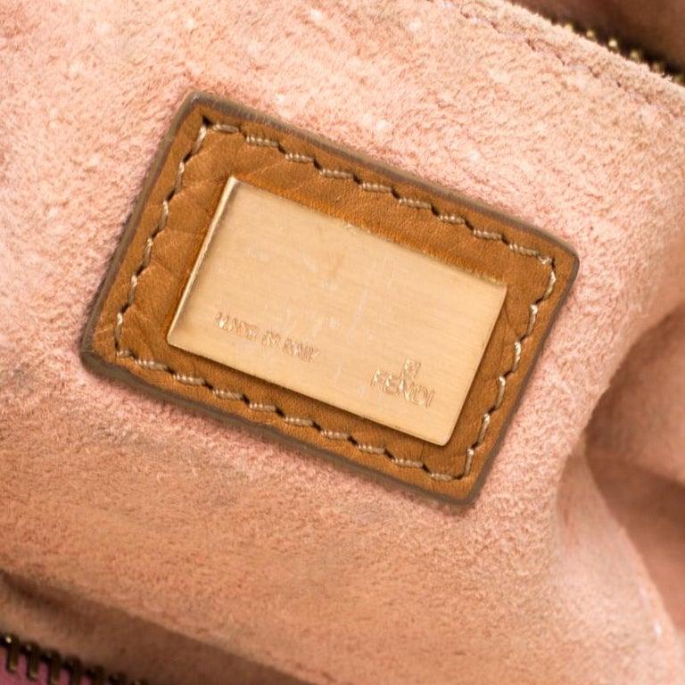 Fendi Tan/Lilac Leather Braided Handle Shoulder Bag For Sale 1