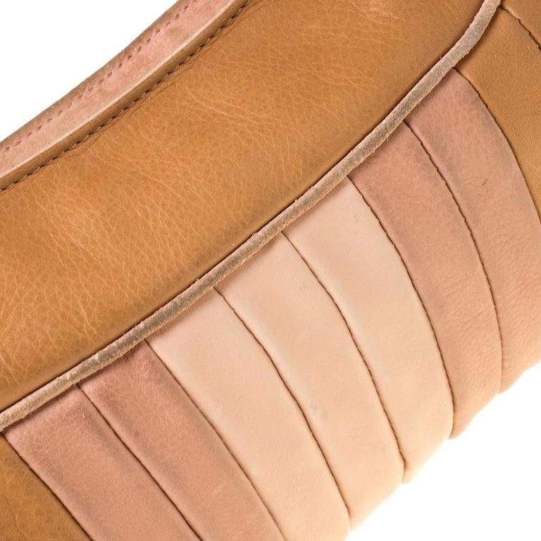 Fendi Tan/Lilac Leather Braided Handle Shoulder Bag For Sale 2