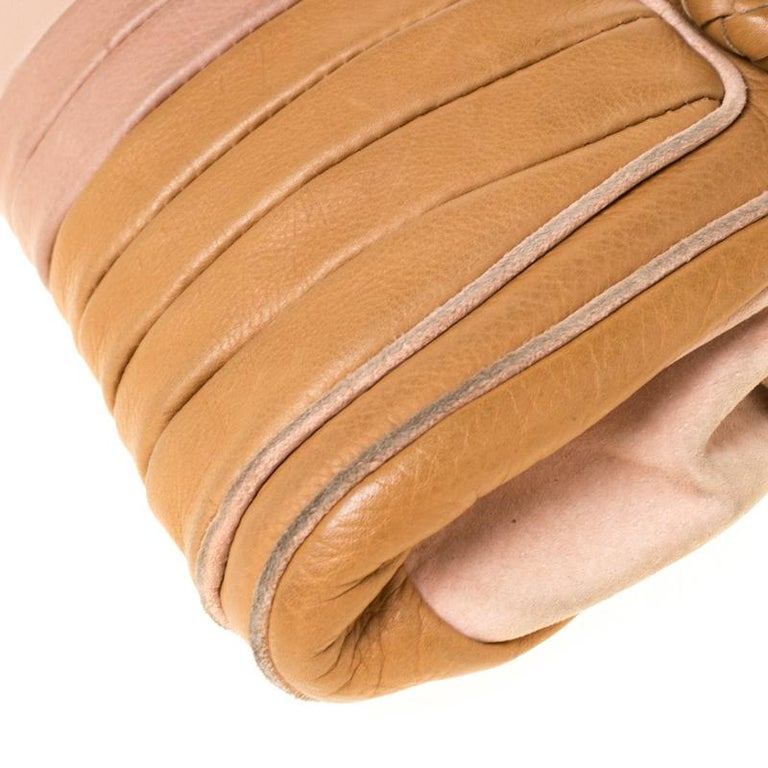 Fendi Tan/Lilac Leather Braided Handle Shoulder Bag For Sale 3