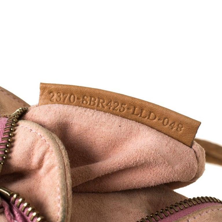 Fendi Tan/Lilac Leather Braided Handle Shoulder Bag For Sale 4