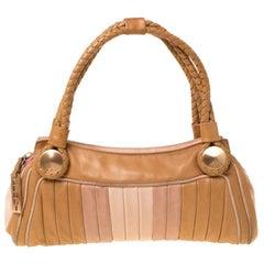 Fendi Tan/Lilac Leather Braided Handle Shoulder Bag