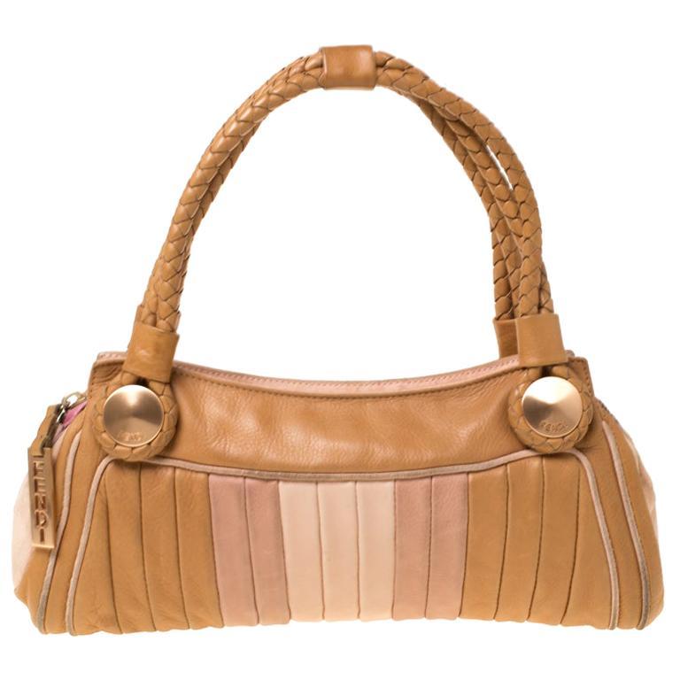 Fendi Tan/Lilac Leather Braided Handle Shoulder Bag For Sale