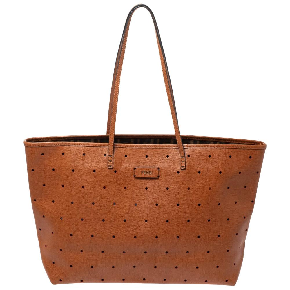 Fendi Tan Perforated Leather Large Roll Tote