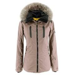 Fendi Taupe Ski Jacket With Fox Fur Hood XS 40
