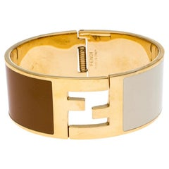 Fendi The Fendista Brown & Cream Enamel Gold Tone Wide Bracelet 15 cm