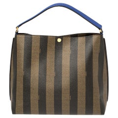 Fendi Tobacco/Black Pequin Stripe Coated Canvas and Leather Hobo Bag