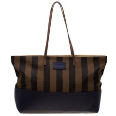 Fendi Tobacco/Blue Pequin Striped Canvas and Leather Roll Tote