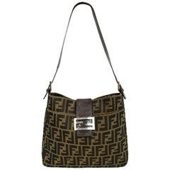 Fendi Tobacco Brown Zucca Monogram Shoulder Bag w/ Logo Buckle