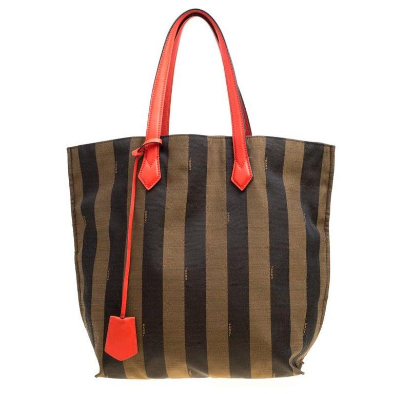 ca53fb1f1 Fendi Tobacco/Coral Red Pequin Striped Canvas and Leather Tote For Sale