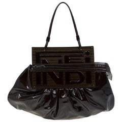 Fendi Tobacco Patent Leather To You Convertible Clutch Bag