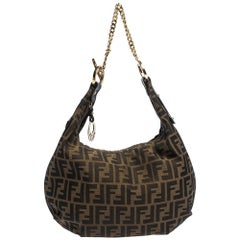 Fendi Tobacco Zucca Canvas and Leather Chef Chain Link Hobo
