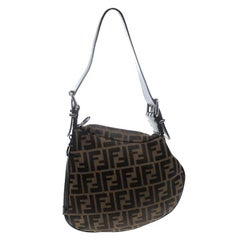 Fendi Tobacco Zucca Canvas and Leather Oyster Hobo