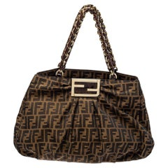 Fendi Tobacco Zucca Canvas and Patent Leather Large Mia Chain Tote