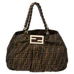 Fendi Tobacco Zucca Canvas Large Mia Chain Tote