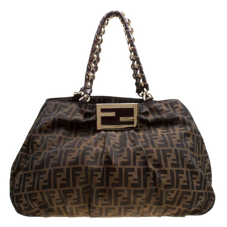 Fendi Tobacco Zucca Canvas Large Mia Tote For Sale at 1stdibs e1e24e1338df7