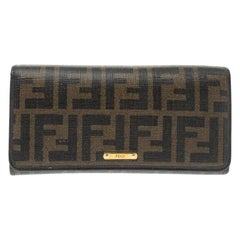 Fendi Tobacco Zucca Coated Canvas and Leather Continental Wallet