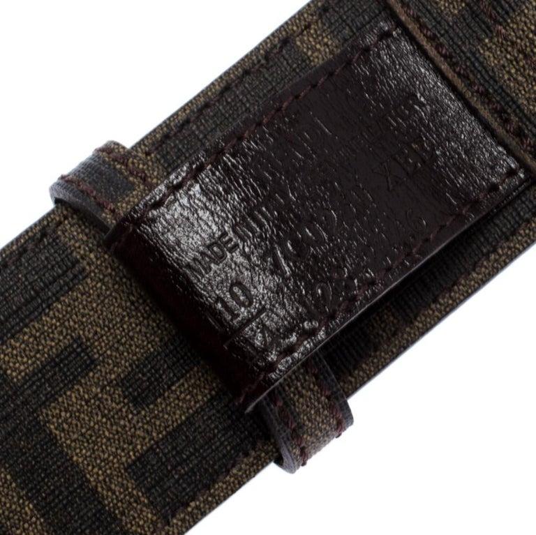 Fendi Tobacco Zucca Coated Canvas FF Logo Buckle Belt 110CM For Sale 1