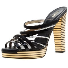 Fendi Tricolor Leather And Satin Stripes Strappy Platform Sandals Size 39