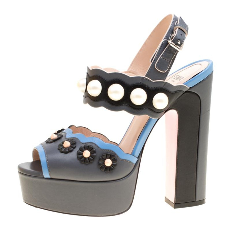 3cc1249e437e0 Fendi Tricolor Leather Faux Pearl Embellished Platform Sandals Size 36 For  Sale at 1stdibs