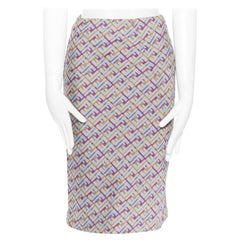 FENDI tricolour jacquard optical illusion high waisted dart pencil skirt IT38 XS