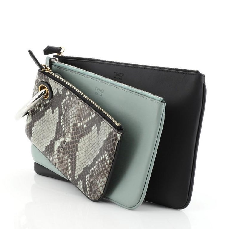 Fendi Triplette Pouch Set Python In Good Condition In New York, NY
