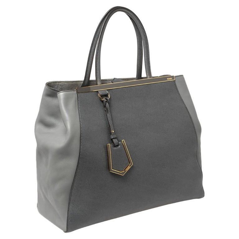 Gray Fendi Two Tone Grey Leather Large 2Jours Tote