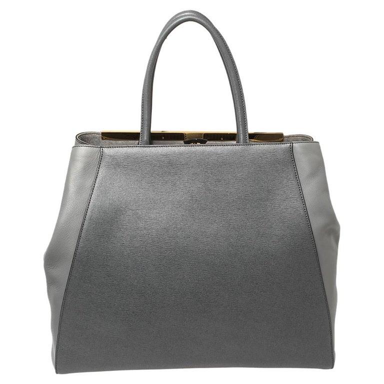 Fendi Two Tone Grey Leather Large 2Jours Tote In Good Condition In Dubai, Al Qouz 2