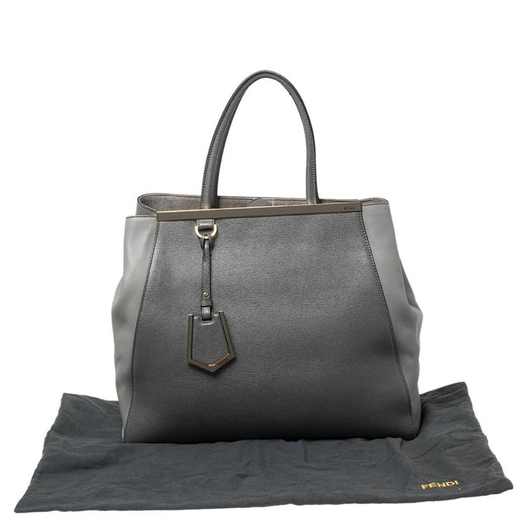 Fendi Two Tone Grey Leather Large 2Jours Tote 1