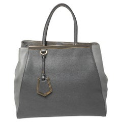 Fendi Two Tone Grey Leather Large 2Jours Tote