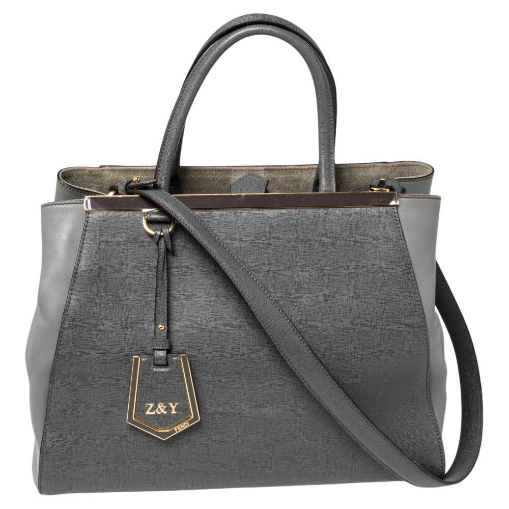 Fendi Two Tone Grey Leather Medium 2Jours Tote